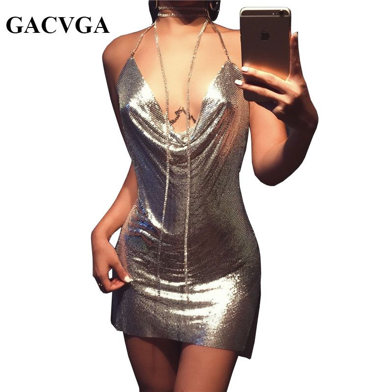 GACVGA 2018 Sexy Diamond Halter Metal Party Dresses Gold Silver Summer Dress Vesitos Backless Sequins Women Dress