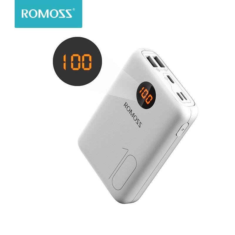 ROMOSS OM10 10000 mAh batterie externe avec Double Port USB câble batterie externe Pack de voyage taille chargeur Portable pour tablette iPhone