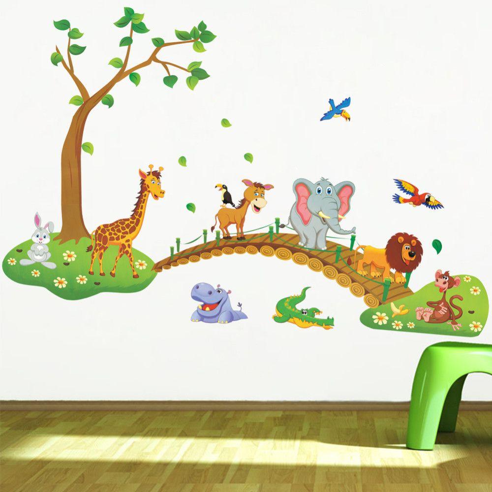 3D Bande Dessinée Jungle sauvage animal arbre pont lion Girafe éléphant oiseaux fleurs stickers muraux pour enfants chambre salon maison décor