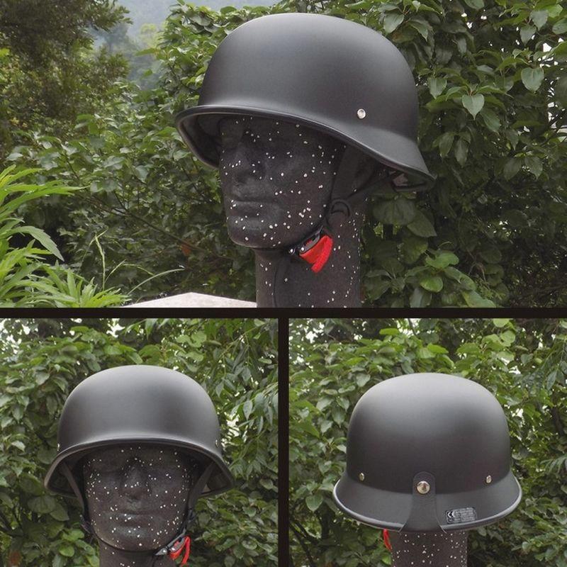 Unisexe DOT rétro moto casques mat noir allemand demi visage casque Chopper Cruiser motard Protection de la tête moteur chapeaux M/L/XL