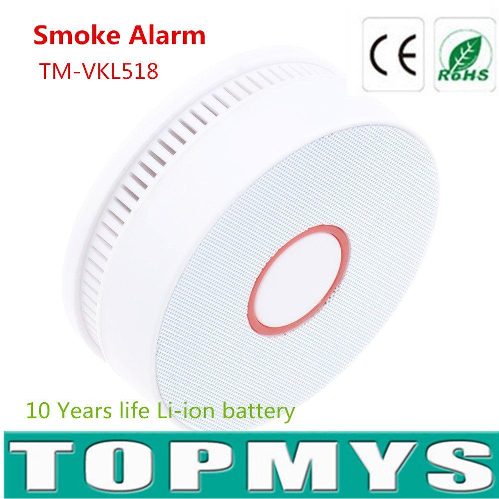 Крытый дыма tm-vkl518 с 10 лет жизни литий-ионный аккумулятор дыма светодиод мигает красным и звуковой сигнал дым тесты