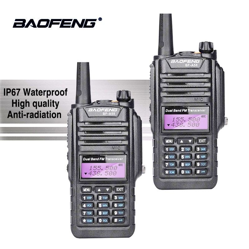 2pcs Baofeng BF-A58 IP67 Waterproof Walkie Talkie UHF VHF Radio A58 Two Way Radio Baofeng UV-9R Ham Radio Comunicador CB Radio
