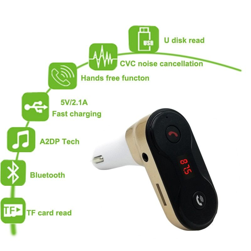 Wireless FM Transmitter Modulator Bluetooth Car Kit G7 Charger upgrade to C8 AUX Hands Free Music Mini MP3 Player Car Styling