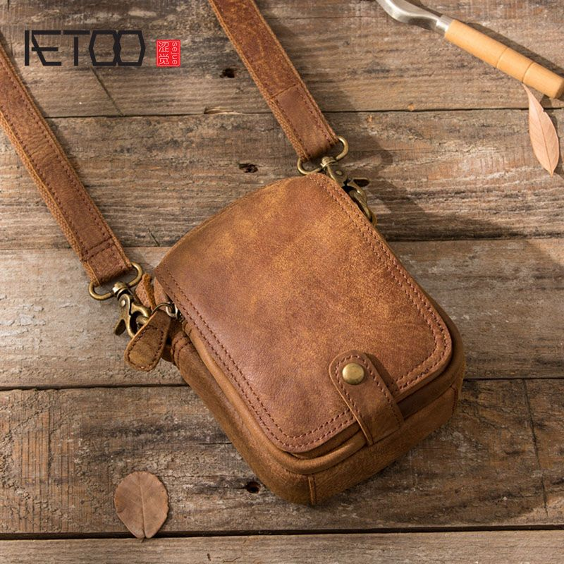 AETOO 2017 Retro mobile phone pockets male handmade leather Messenger mini casual bag scrub leather leather bag shoulder bag
