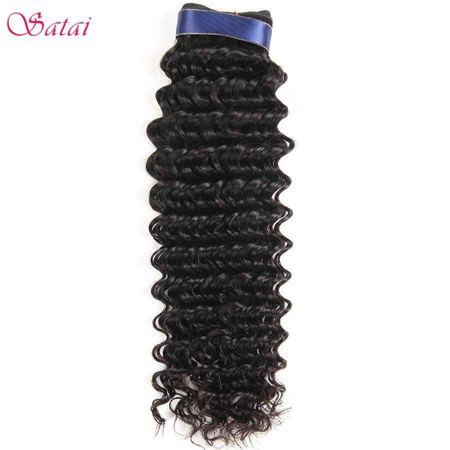 Satai Vague Profonde Brésiliens Cheveux Weave Bundles 1 pc 100% de Cheveux Humains Extensions 8-28 pouce Naturel Couleur Remy cheveux Aucun Embrouillement