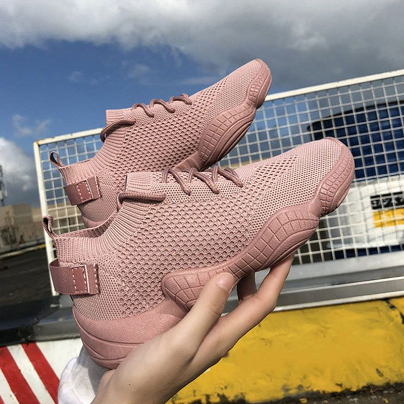Women Mesh Spring Sneakers Ladies Lace Up Stretch Fabric Platform Flat Vulcanized Casual Shoes Female Breathable Fashion