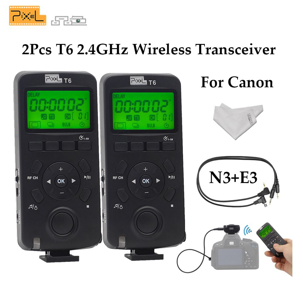 Pixel T6 E3+N3 2PCS LCD 2.4GHz Wireless Transceiver Timer Shutter Release Control For Canon DSLR Cameras VS TW-283 T8 TW-830