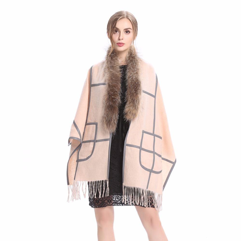 ZY87060 Новинка 2017 года Дизайн модные женские туфли и дамы енота меховой воротник шерсть кашемира с пу мех Pashimina шаль пончо