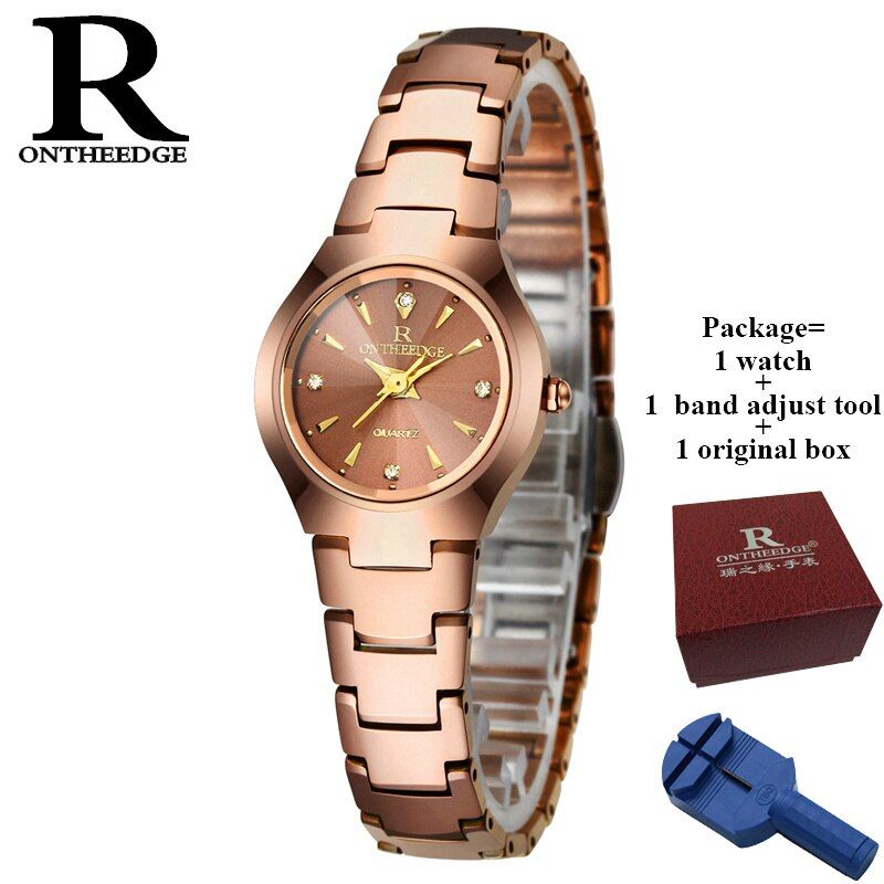 RONTHEEDGE Women Watch Elegant Brand Famous Luxury Rose Gold Quartz Watches Ladies Steel Antique Geneva Wristwatches Relogio