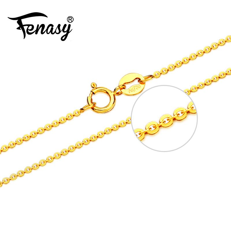 FENASY Genuine 18K Yellow Rose Gold Chain Cost Pure 18K white Gold Necklace for love Best Gift For women tendy necklaces