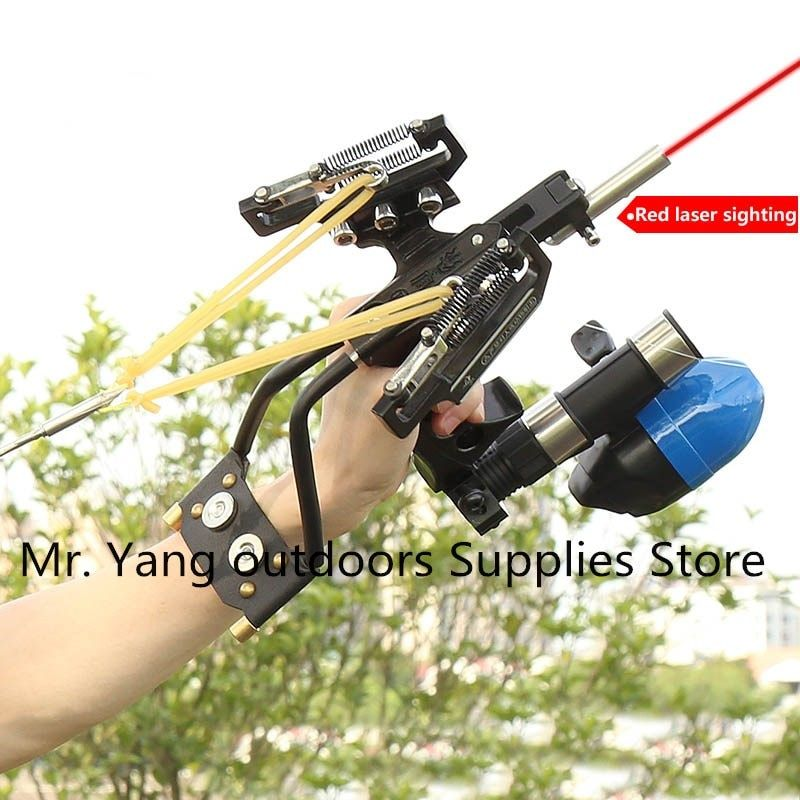 2018 High Quality Laser Slingshot Black Hunting Bow Catapult Fishing Bow Outdoor Powerful Slingshot for Shooting Crossbow Bow