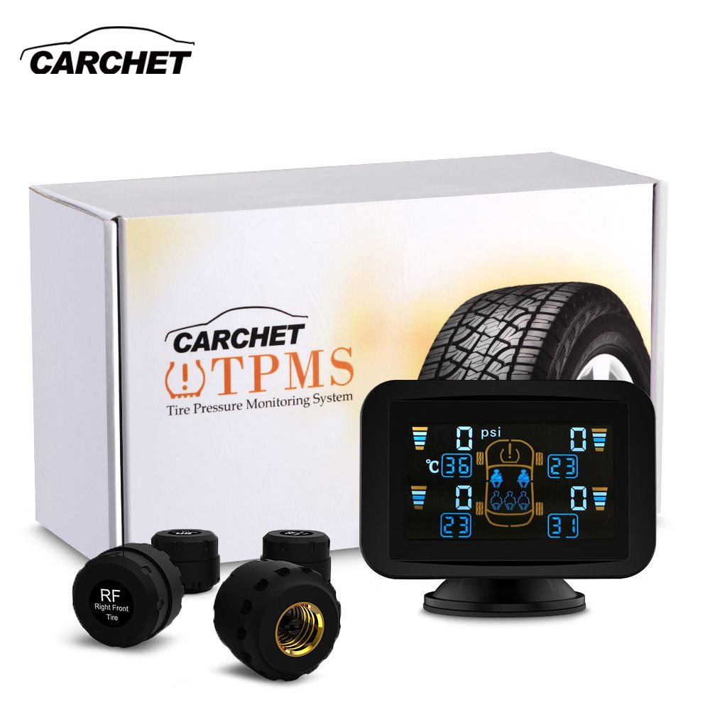 CARCHET TPMS Dvd Reifendruckkontrollsystem Intelligente System + 4 Externe Sensoren LCD Sauger tpms für auto dvd Reifendruck Alarm