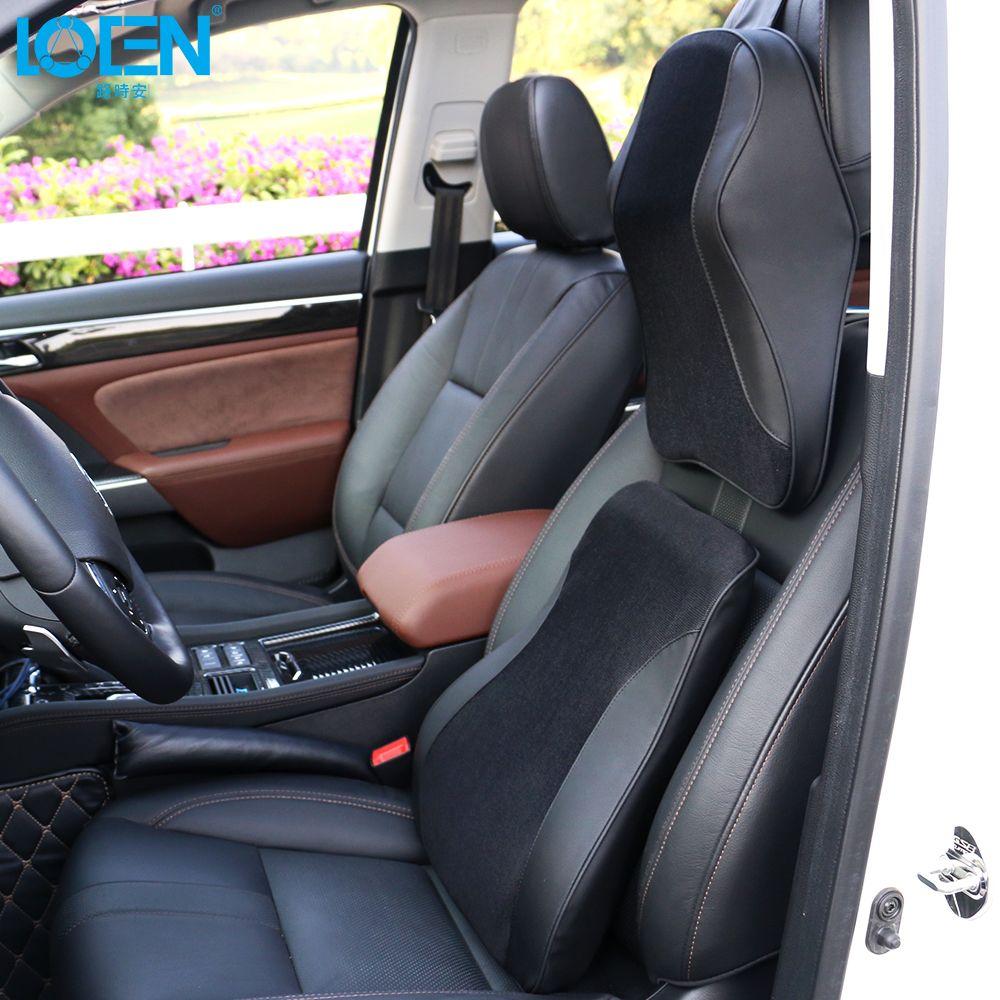 LOEN 3D Mesh+PU Leather Auto Car Seat Breathable Memory Foam Pillow Headrest Lumbar Support for Universal Car Black/Brown/Beige
