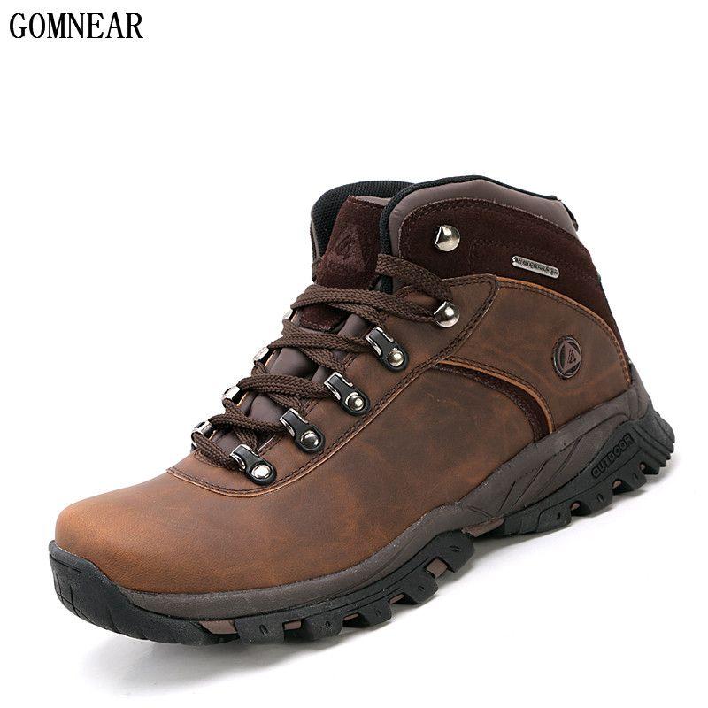 GOMNEAR Men's Waterproof Hiking <font><b>Shoes</b></font> Antiskid Trekking Hunting <font><b>Shoes</b></font> Comfortable Trend Sneakers for Male Mountain Climbing <font><b>Shoe</b></font>