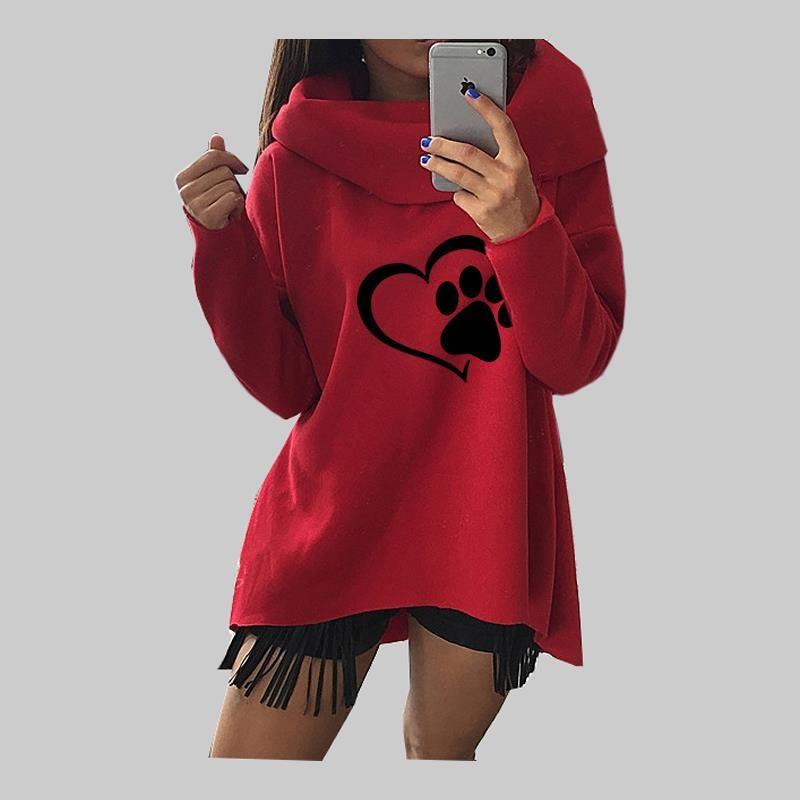 2018 nouveau mode coeur empreinte de chat motif imprimé hauts Hoodies Kawaii sweat Femmes coton filles grande taille rue épaisse