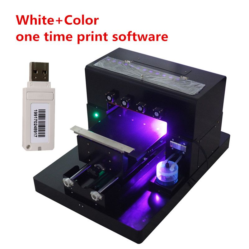 2018 A4 Small size UV Printer UV Flatbed Printer for Phone Case, T-shirt, leather with CE