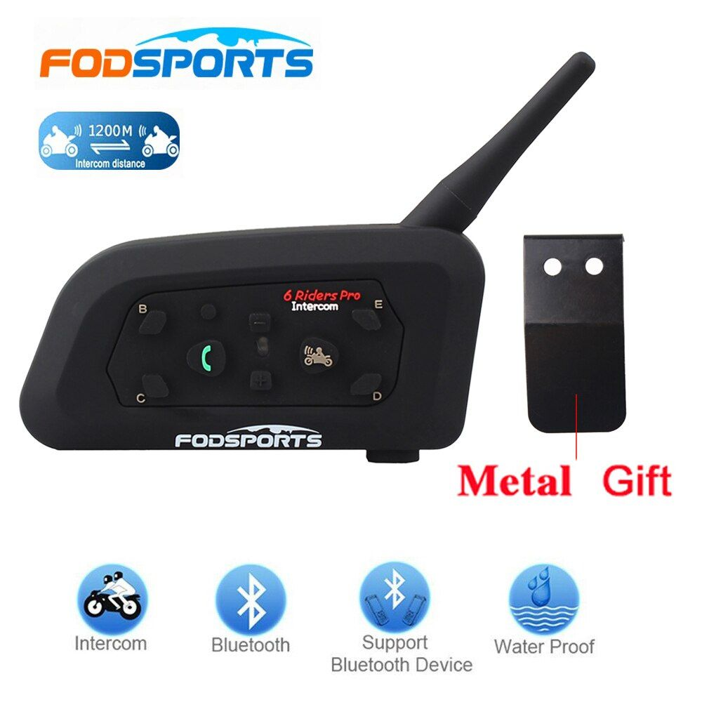 Fodsports!2017 New 1 pcs V6 Pro 1200M multi BT Interphone Wireless Motorcycle Helmet Bluetooth Headset Intercom for 6 Rider