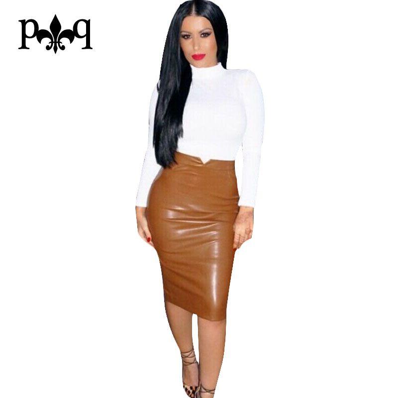 Femmes Pu Cuir Jupe Automne Streetwear décontracté Bureau Work Wear Moulante Jupe droite Taille Haute Longues jupes en velours Femmes Jupe