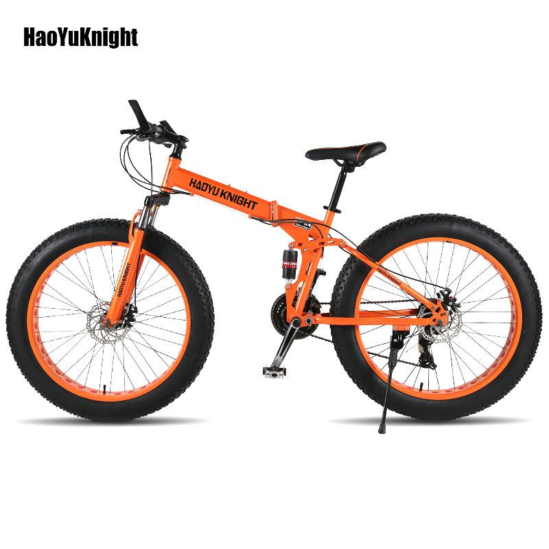 2018new Folding bicyc 26*4.0 tire 24 speed road bicycle snow bike 17.5 inch steel frame bicicleta bikes Free delivery in Russia