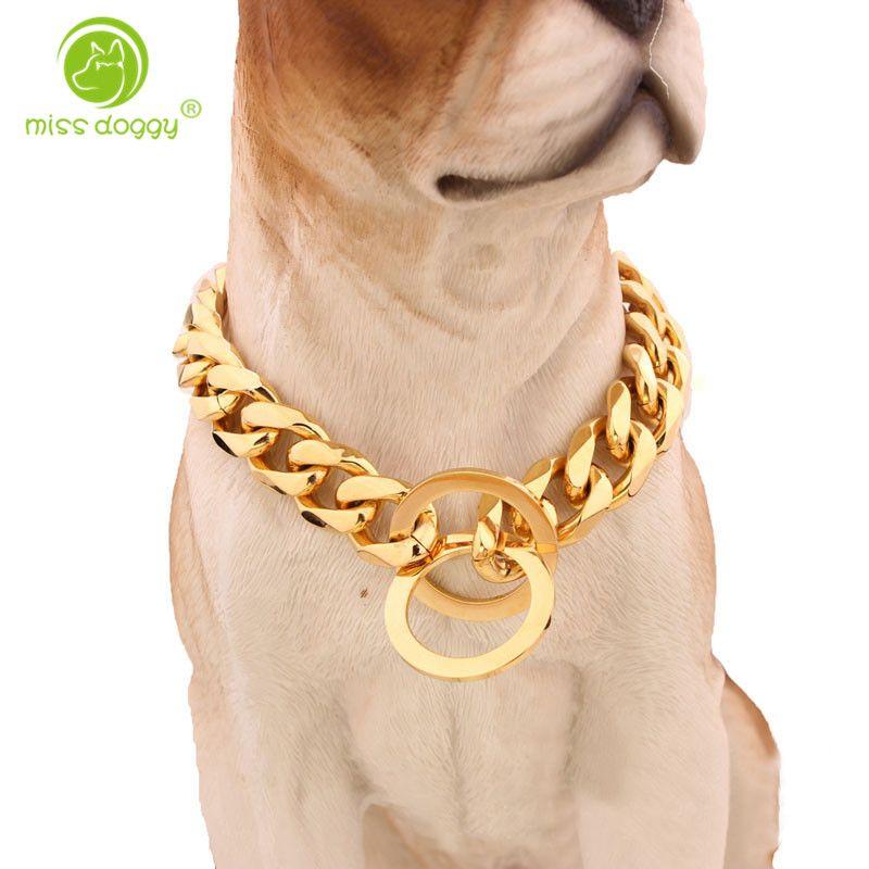 Colliers de chaîne de starter d'entraînement de chiens en métal de 15mm pour les grands chiens Pitbull Bulldog fort collier de chien de glissement d'acier inoxydable d'or argenté