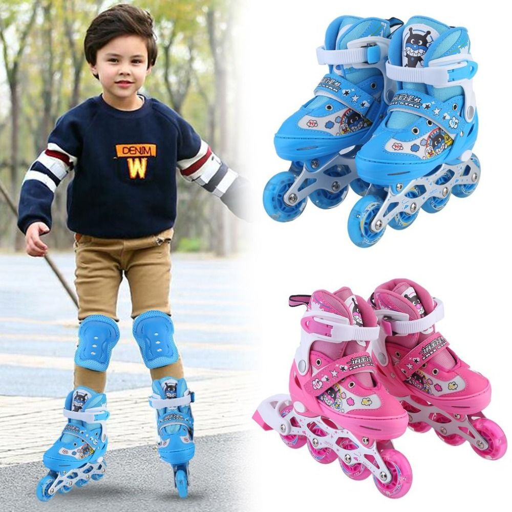 New Children Kids Inline Speed Skates Roller 4 Wheels Skating Shoes+ Protective Bracers Set + Helmet Fun Game Great Gift