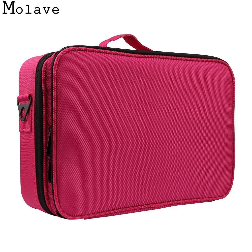 MOLAVE cosmetic bag 3 Layers Waterproof Makeup Bag Travel Case Brush Holder with Adjustable travel cosmetic bag dec14