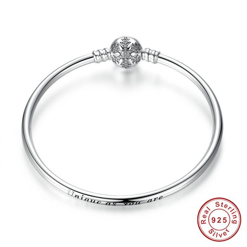 100% plata esterlina 925 grabar corchete del copo única como es usted serpiente cadena pulsera y brazalete DIY joyería