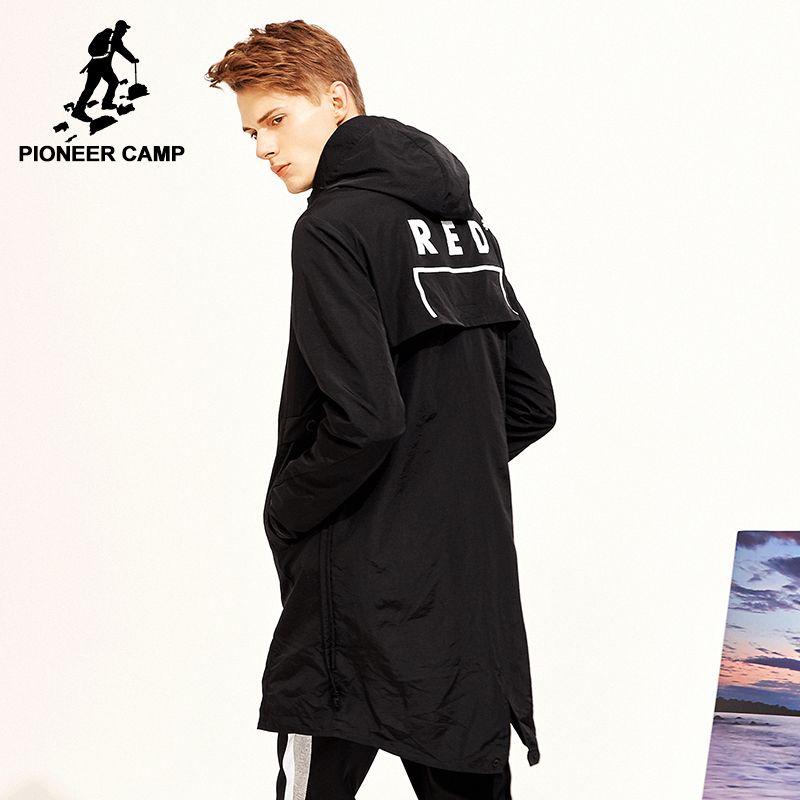 Pioneer camp neue lange trenchcoat herren marke kleidung lässige mode lange jacken mantel männer qualität mit kapuze graben männlichen AFY803120