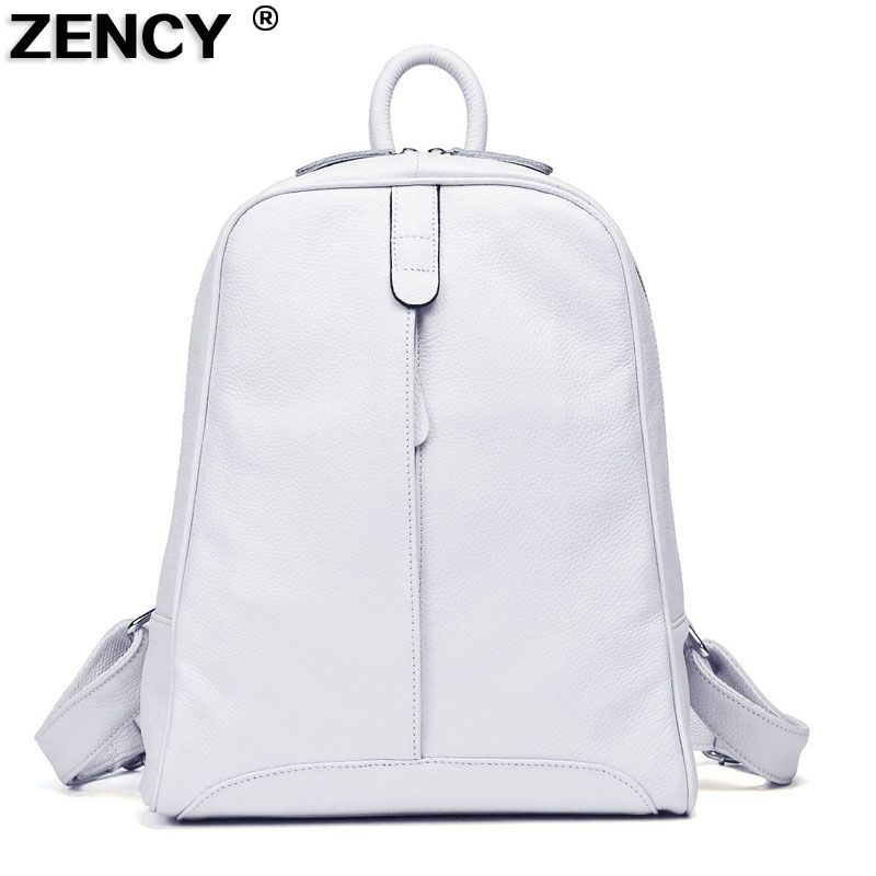 ZENCY 2018 Women's 100% Nature Real Genuine Leather Cowhide Black White Gray Beige Backpacks Ladies's Schoolbag Teenagers Bag