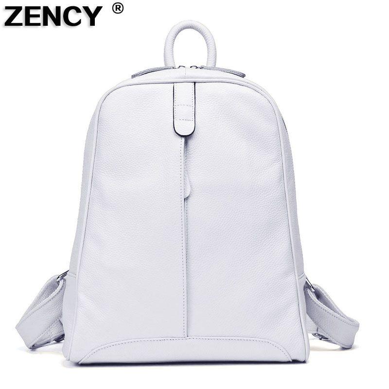 ZENCY 2019 Women's 100% Nature Real Genuine Leather Cowhide Black White Gray Beige Backpacks Ladies's Schoolbag Teenagers Bag