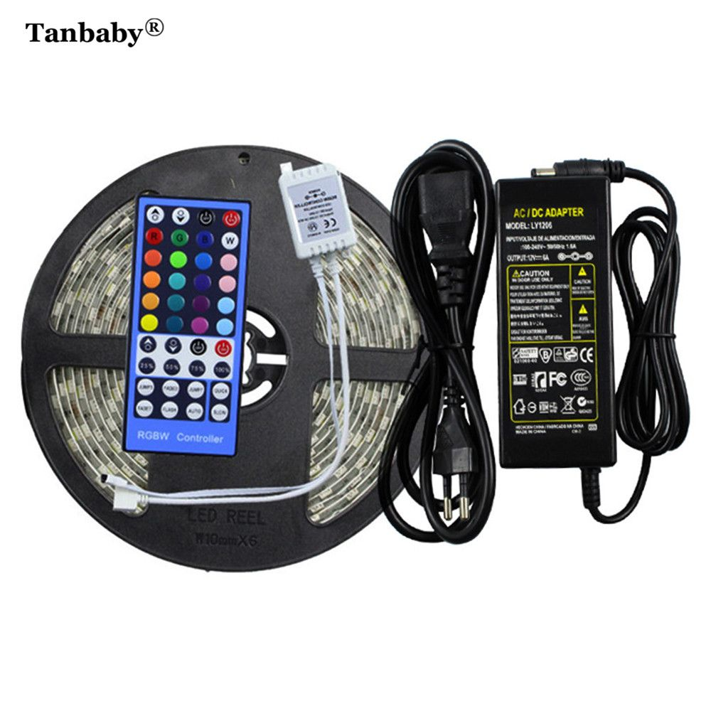 Tanbaby Waterproof LED Strip Light 5050 RGBW RGBWW Tape 5M 300 leds+ IR Remote Controller+ DC12V 6A Power Adapter LED Ribbon Tap