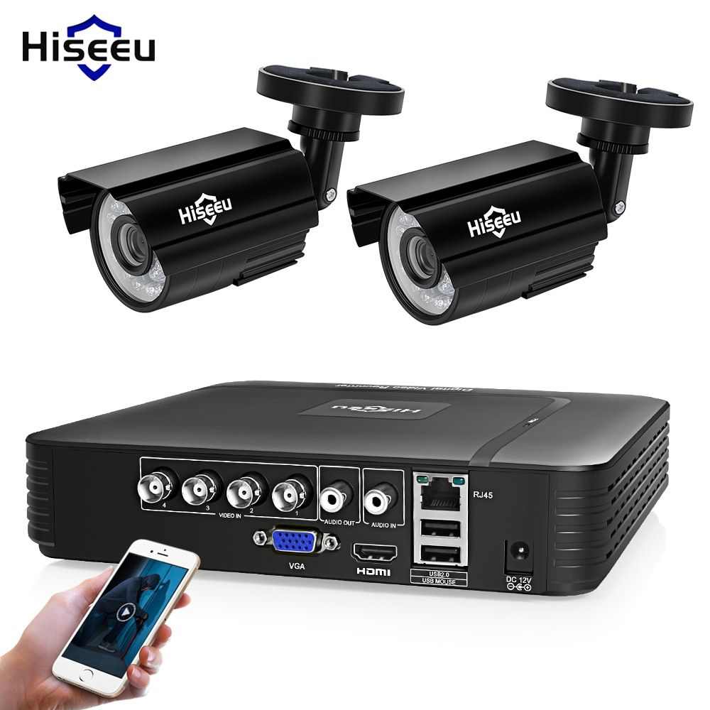 Hiseeu 4CH DVR CCTV System 2PCS Cameras 2CH 1.0 MP IR Outdoor Security Camera 720P HDMI AHD CCTV DVR <font><b>1200</b></font> TVL Surveillance Kit