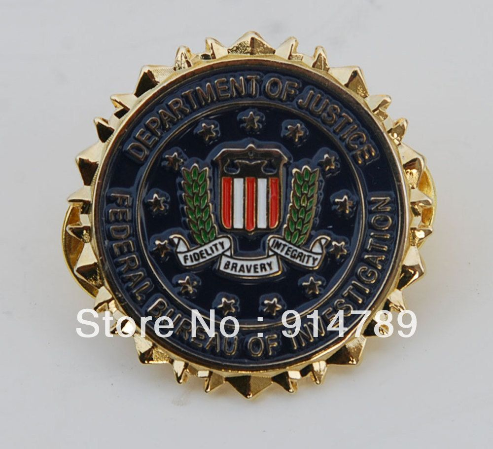 US DEPARTMENT OF JUSTICE FEDERAL BUREAU OF INVERTIGATION METAL LAPEL BADGE -32713