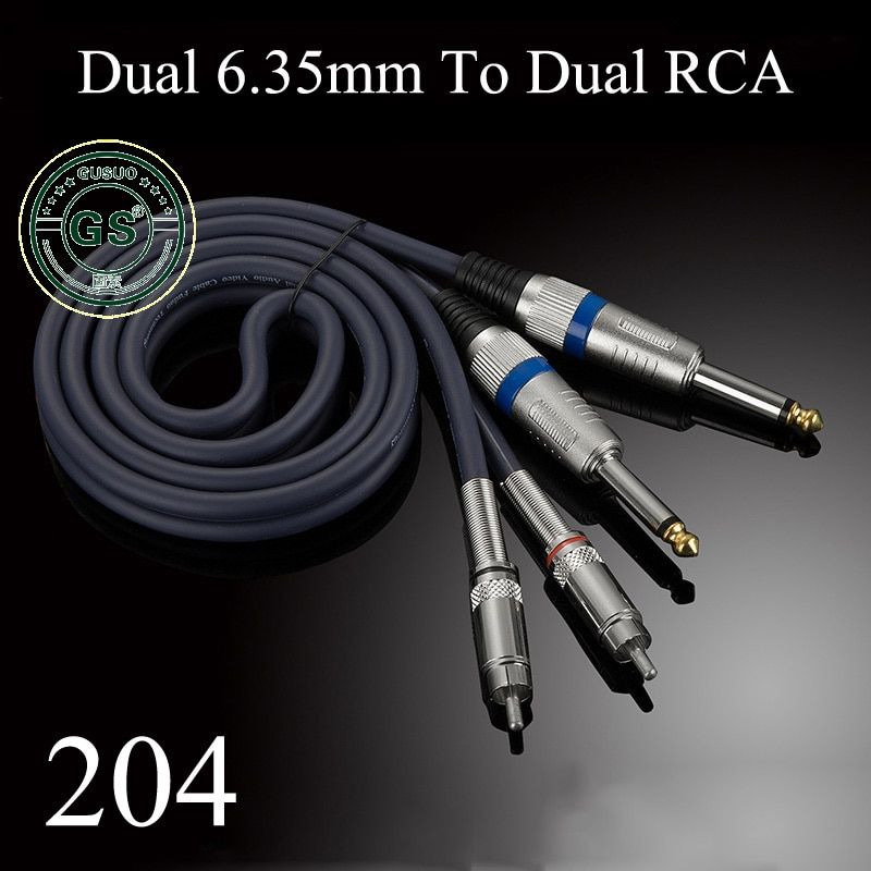 GUSUO Quality Dual RCA to 2x 6.35mm 1/4'' Mono TS Plug Audiophile Audio Cable for Mixer Amplifier 0.5M-30M