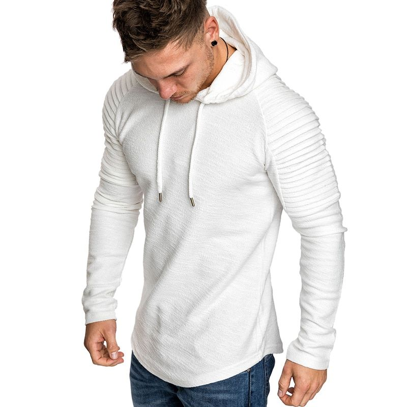 GustOmerD New Hoodies Man's Solid Color Slim Fit High Street Hooded Sweatshirt Stripe Fold Sportswear Mens