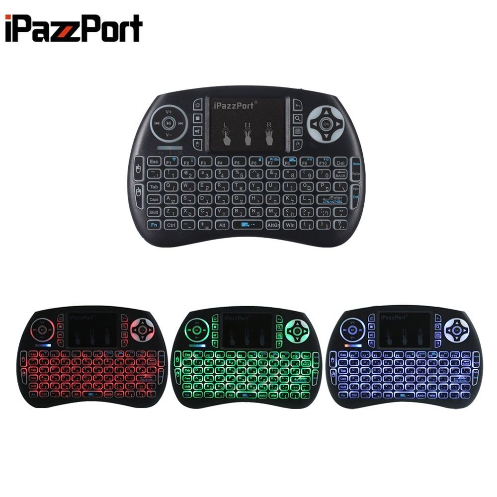 iPazzPort Mini Wireless QWERTY Game Keyboard Backlight Function with Touchpad Portable Keyboard for PC TV TV Box Russian Italian