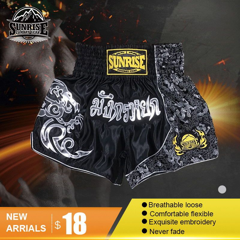 Mens muay Thai Shorts wholesale kick Boxing Shorts Sunrise MMA Shorts