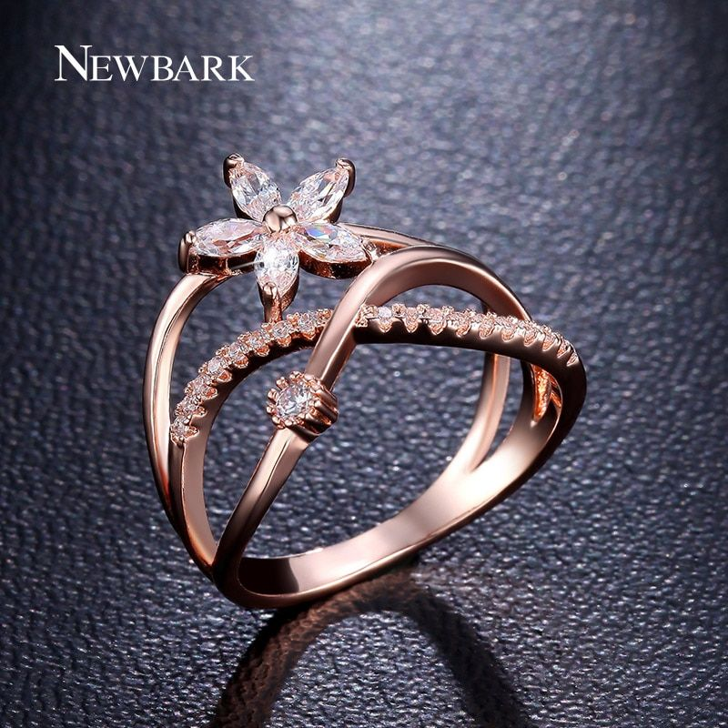 NEWBARK Delicate Flower Finger Ring Rose Gold and Silver Color Paved Tiny Zirconia CZ Jewelry For Valentine's Day Gifts