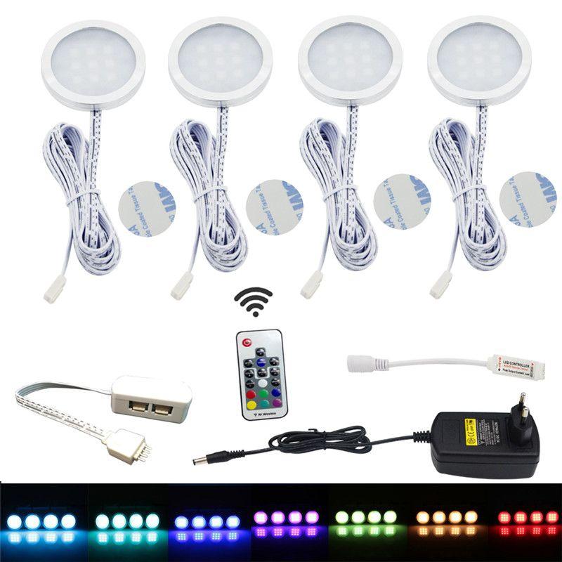 AIBOO LED Sous La Lumière Du Cabinet Puck Light Kit RF Télécommande Dimmable RGB Cabint Lampe pour Comptoir De Cuisine Lumières du Plateau 4 Packs
