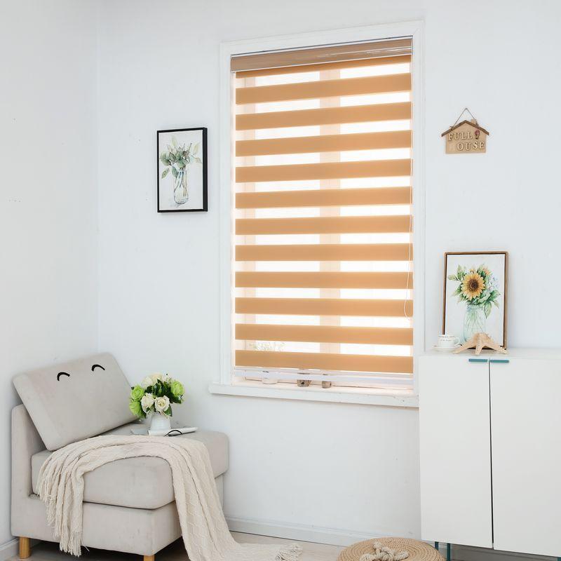 Zebra Jalousien Horizontale Fenster Schatten Doppel schicht Rollos Fenster Individuell Cut zu Größe Khaki Vorhänge für Wohnzimmer