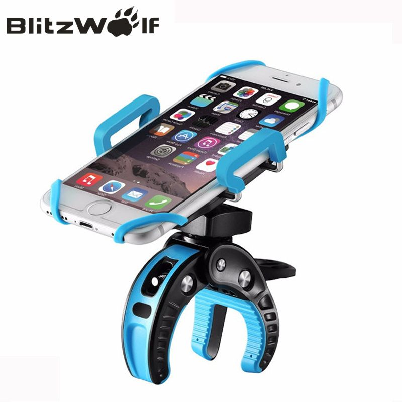 BlitzWolf Bike Phone Mount Holder <font><b>Universal</b></font> 360 degree Rotate Mobile Phone Stand Support Phone For iPhone 7 6 For Samsung