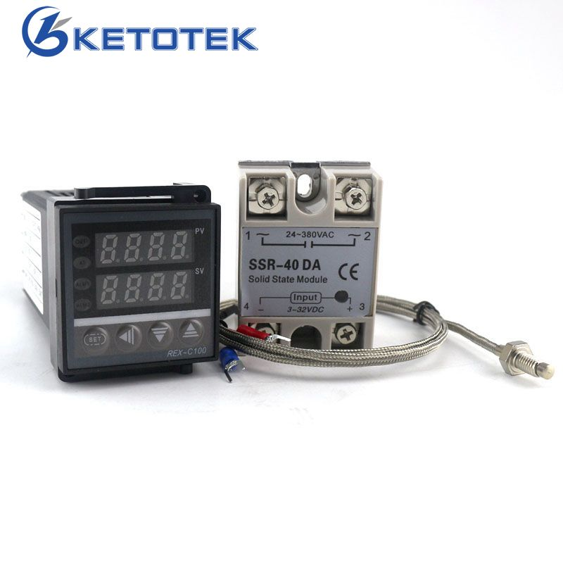 Dual Digital PID Temperature Controller Thermostat REX-C100 thermocouple K SSR 40A SSR-40DA 110V 220V Power <font><b>Supply</b></font>