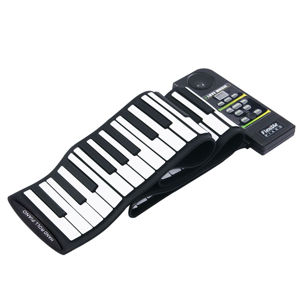 Portable Flexible 88 Keys Keyboard Piano 28 Tones 100 Rhythms Electronic Roll Up Piano USB & MIDI Port with Speaker for Kids