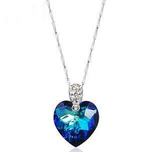 2017 nouvelle arrivée vente chaude 925 sterling argent amour coeur bleu cristal 'colliers pendants bijoux chaîne de cadeau en gros