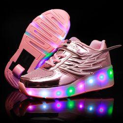 Heelys светящиеся кроссовки с колесиками, обувь со светодиодной подсветкой, детские спортивные Ролики, обувь для катания на коньках, обувь со с...