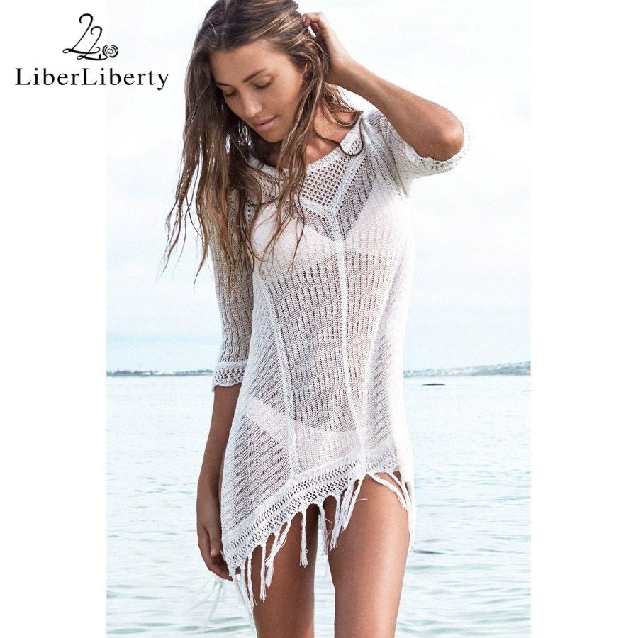 New 2018 Beach Tunic Sexy Cover Up Women Beach Blouse Crochet Pareo Swimsuit Cover-ups Beach Dress Summer Beach Wear Swimwear