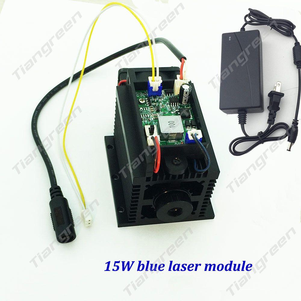High power 15 watt 450nm Blau Laser kopf TTL PWM 12 v Fokus Laser stecher maschine 445nm 15000 mw Einstellbar blau modul DIY