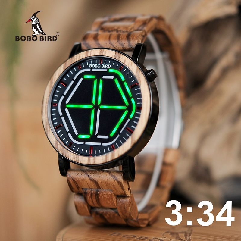 BOBO BIRD Wood Digital Watch Men erkek kol saati Night Vision Wooden Watches LED Design with Unique Time Display Tokyoflash WP13