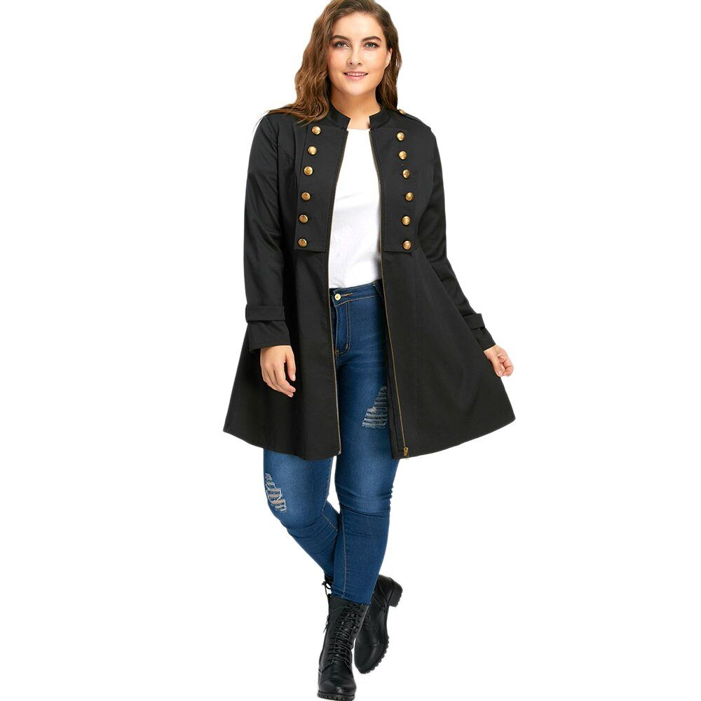 CharMma 2017 Winter Fashion Plus Size 5XL Double Breasted Flare Women Coat Girl Large Size Oversized Black Trench Female