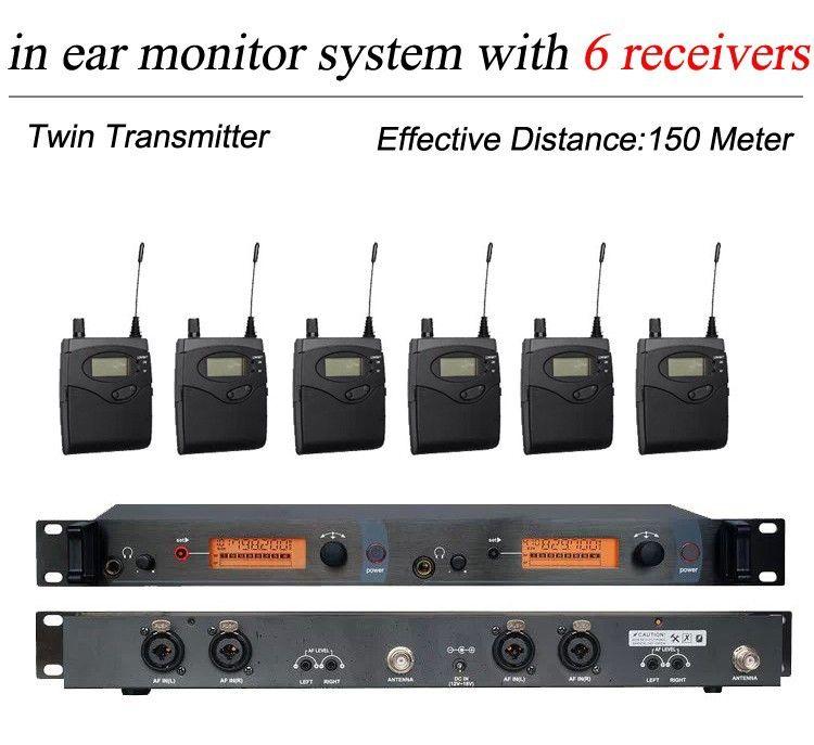 6 Pack Empfänger + Drahtlose In-Ear-Monitor-System Twin Sender, professionelle Drahtlose Ohr Überwachung SR 2050 IEM für Bühne